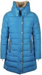 Mark Todd Ladies Delux Long Padded Coat Petrol Blue Size Small/10 Returns In Vgc
