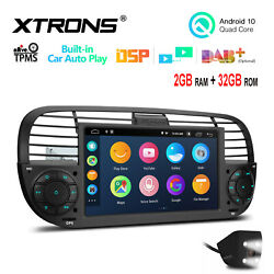 Cam+ 7 Android 10 4-core 2+32gb Car Stereo Radio Gps Dsp For Fiat 500 2007-2015
