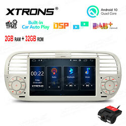 Dvr+ 7 Android 10 32g Car Gps Stereo Radio Head Unit For Fiat 500 2007-15 Beige