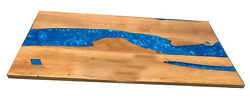 Blue Epoxy Table Furniture Resin Wooden Walnut Dining Decorative Made To Order