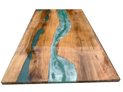 Green Epoxy Resin Wooden Acacia Table Furniture Dining Decorative Made To Order