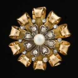 Vintage French Diamond And Pearl Flower Cluster Brooch