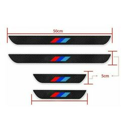 For Bmw Car Door Sill Carbon-fiber Scuff Coverentry Stickers Black 4pc