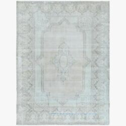 9and039x12and0397 Gray Vintage Farsian Karman Hand Knotted Worn Wool Rug R61413