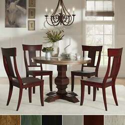 Eleanor Red Round Solid Wood Top 5-piece Dining Set - Panel