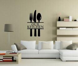 Our Kitchen Wall Stickers Knife Fork Quote Kitchen Dinning Room Decor Uk As2