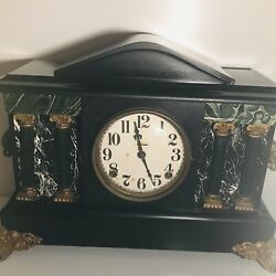 Antique E. Ingraham Adrian Mantle Clock Black With Gold Ornate With Key