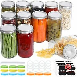 12-pack Mason Jars 32 Oz Large Food Storage Canning Jars With Lids And Bands New