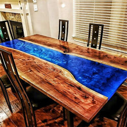 Wooden Walnut Decorative Custom Blue Epoxy Dining Table Furniture Made To Order