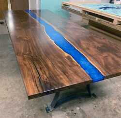 Wooden Acacia Dining Table Custom Epoxy Top Blue Furniture Decor Made To Order