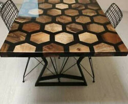 Epoxy Black Furniture Dining Honeycombs Wooden Walnut Decorative Made To Order