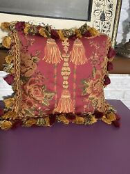 Vintage Passamaneria Toscana Florals Throw Pillow Made In Florence Italy