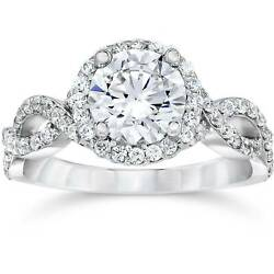 G Si 2 1/4ct Halo Diamond Engagement Ring Infinity Band Solitaire 14k White Gold