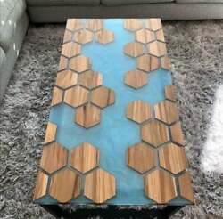 Honeycombs Epoxy Furniture Wooden Acacia Table Dining/living Decor Made To Order