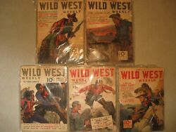 5 1940's Street And Smith's Wild West Weekly Magazines, Western Collectibles