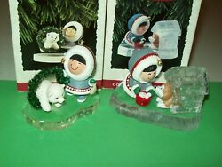 Hallmark Lot Frosty Friends 14th And15th Husky Doghouse And Eskimo 1993-94 Ornaments