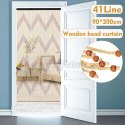 Us 90x200cm 41 Line Wooden Bead Curtain Fly Screen Porch Bedroom Living Room