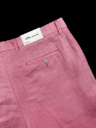 Peter Millar Crown Cool Puppytooth Cotton Linen Shorts Red Ginger Size 36 115