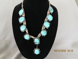 Vintage Signed Native American Silver And Turquoise Necklace