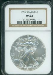 1999 American Silver Eagle Ase Ngc Ms69 Ms-69 Premium Quality Pq+ Older Holder
