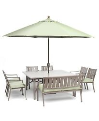 Outdoor Aluminum 8-pc.dining Set 64 Square Table, 6 Chairs, 1 Bench, Sunbrella