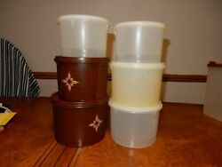 Vintage Tupperware 12pc Canisters Containers Brown And Sheer Clear And Lids Set