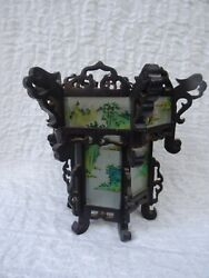 Antique Asian Chinese Carved Wood And Reverse Painted Glass Lantern Lamp
