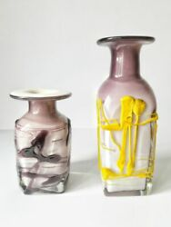 Vintage Two Vases Colored Blown Very Heavy Glass Art Deco Marked Galician 4kg