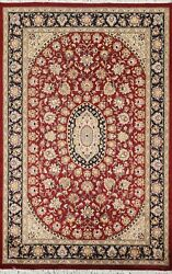 Floral Aubusson Oriental Area Rug Hand-knotted Red Wool Home Decor Carpet 4x6 Ft