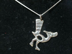 Handmade Native American Sterling Silver Road Runner Pendant And Chain