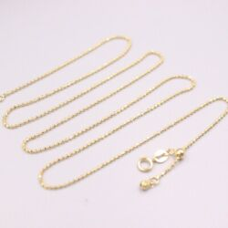 Au750 Real 18k Yellow Gold Necklace 1.0mmw Womenand039s Carved Beads Gold Chain 22and039and039l