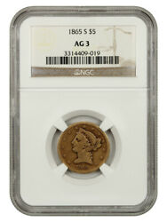 1865-s 5 Ngc Ag-03 - Affordable Scarce S-mint - Liberty Half Eagle - Gold Coin