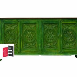 Bleached Indian Hand Carved Wooden Large Buffet Sideboard Green Made To Order