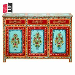 Mughal Hand Painted Solid Wood Buffet Sideboard With 3 Drawers Made To Order