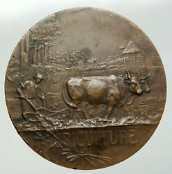 1938 France Agriculture Vieilleville Vintage Oxen Plowing French Medal I92788