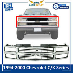 Front Grille Chrome Shell With Primed Insert For 94-2000 Chevrolet C/k Series