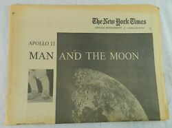 1969 New York Times Apollo 11 Man And The Moon Newspaper Armstrong Aldrin Collins