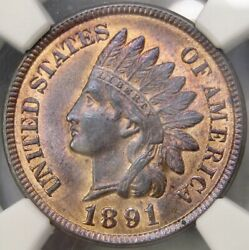 1891 Indian Head Cent/penny Very Rare Plus Slab Ultra Low Pop 3/6 Ngc Ms 65+ Rb