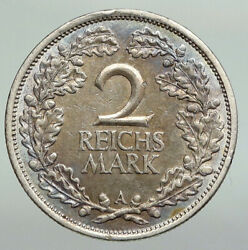 1926 A Germany Weimar Republic Eagle Antique Silver 2 Mark German Coin I92245