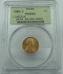 1909-s Pcgs Ms65rd Lincoln Wheat Cent Penny Old Green Holder