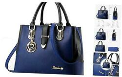 Purses And Handbags For Women Tote Shoulder Crossbody Bags With Long Strap Blue