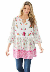Woman Within Womenand039s Plus Size Bell Sleeve Embroidered Blouse