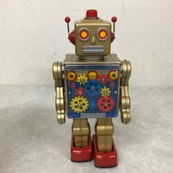 Metal House Gear Robot Gold Electric Tin Robot Toy Battery Operated