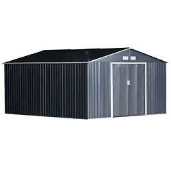 Outsunny 11and039 X 13and039 Metal Garden Shed Utility Tool Storage