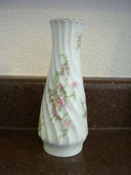 Theodore Haviland Limoges Small Floral Swirled Vase, No Chips Or Cracks