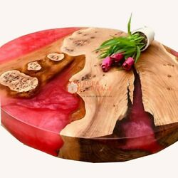 Red Resin Epoxy Wooden Handmade Customize Table Top Handmade Living Decor Table