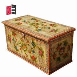 Mughal Hand Painted Indian Solid Wood Storage Trunk Coffee Table Made To Order