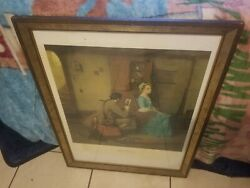 Vintage Wood Framed Norman Rockwell Print/picture Colonial Silhouette Artist ...