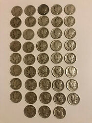 Lot Of 43 Mercury Dimes - Mixed Dates 1917-1945 Incl. 1931 D And 1945 Micro S