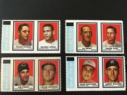 Four Diff 1962 Stamps Panels W Tabs Attached Sharp Lary Perry Cepeda Howard